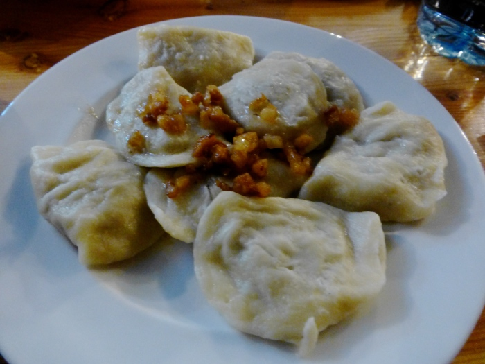 Pierogi stuffed with cabbage and mushrooms. YUM YUM YUM.