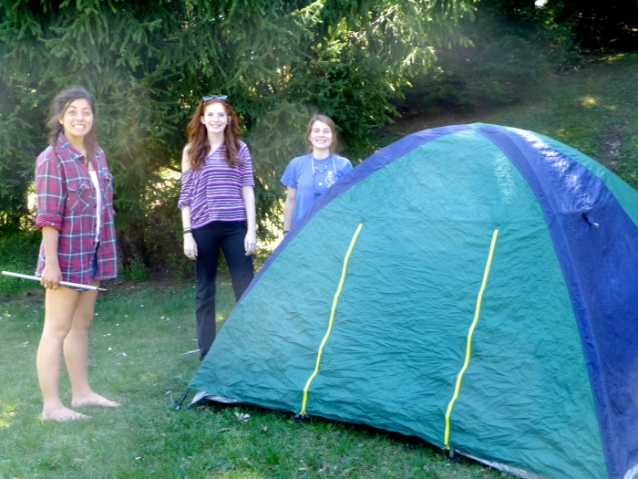 Pitching our tent and bonding with nature.